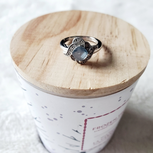 Sterling silver 925 topaz and cubic ring